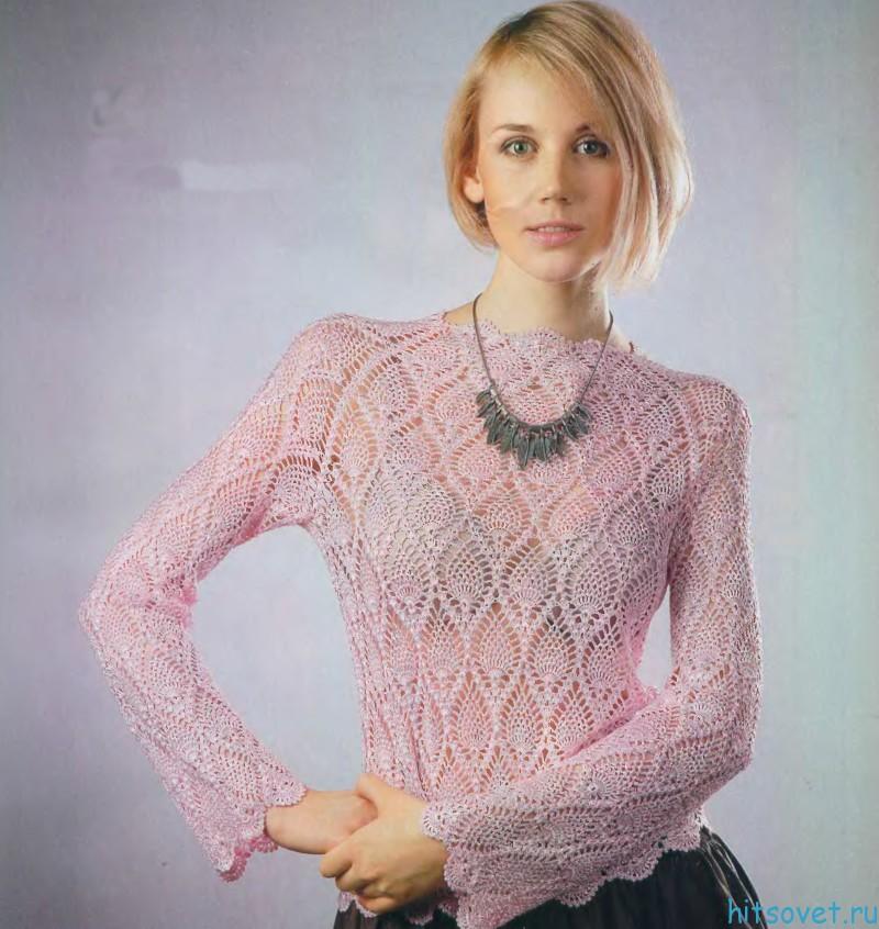 Вязаный пуловер с узором Ананасы