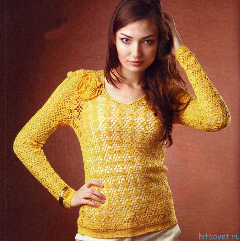 Ажурный пуловер крючком схема