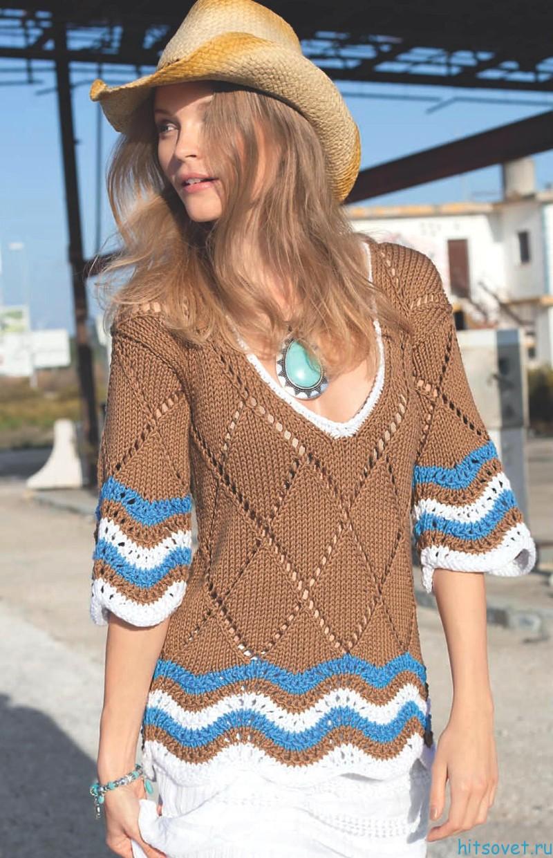 Вязание пуловера с глубоким вырезом