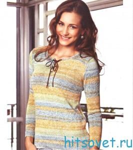 Вязание пуловера со шнуровкой