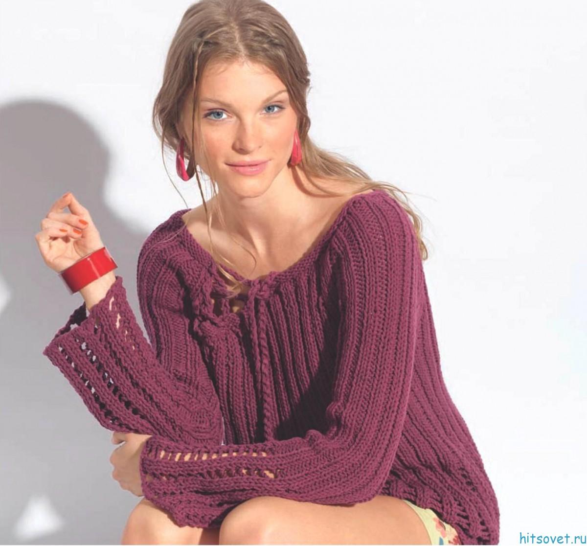 Пуловер спицами со шнуровкой