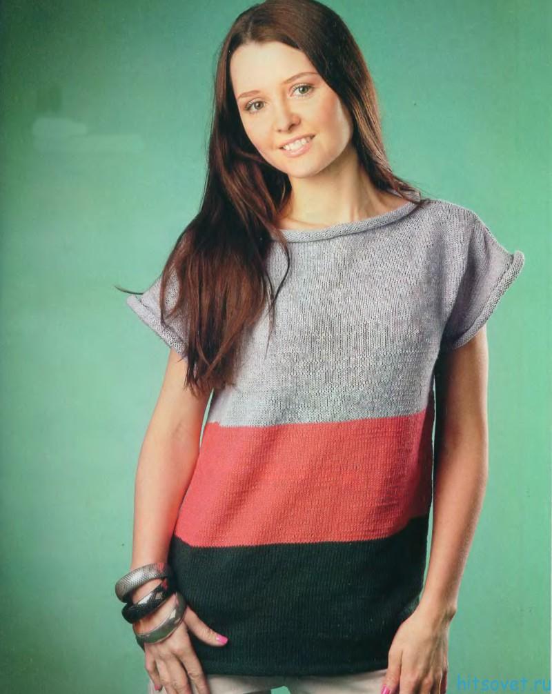 Вязаный пуловер в полоску