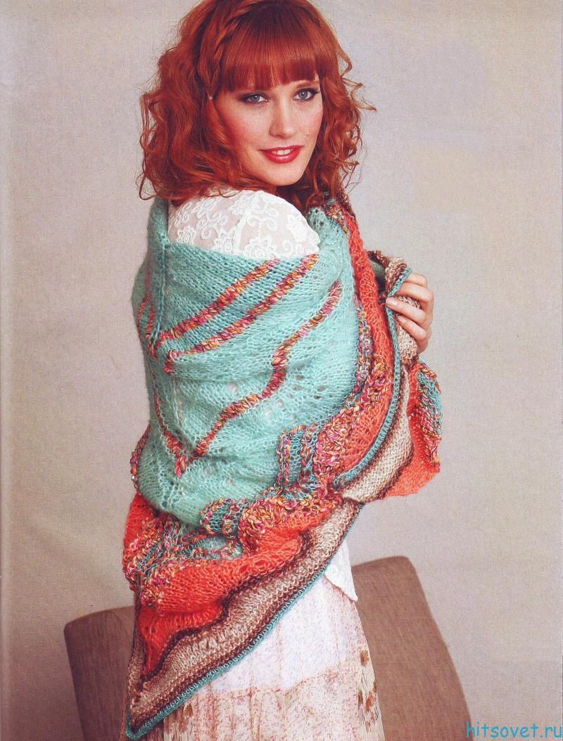 Разноцветная шаль спицами