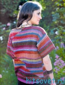 Разноцветный жакет спицами, фото 2.