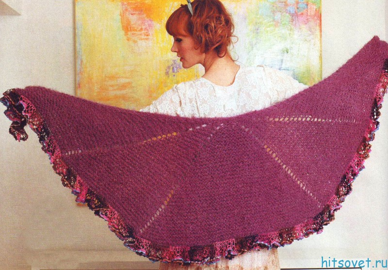 Вязание шали с оборками