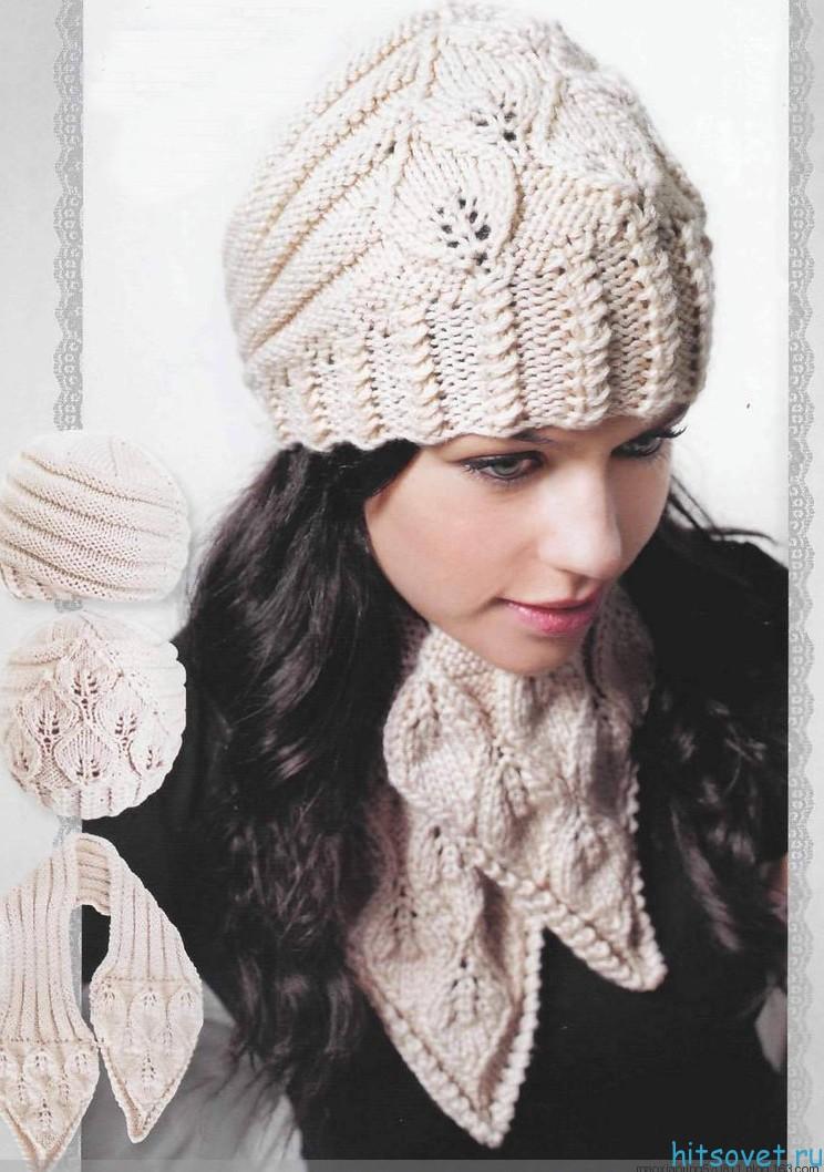 Шапка и шарф с красивым узором, фото.