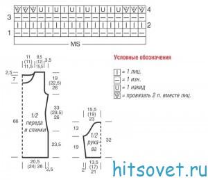 Вязание туники с волнистым узором, схема.
