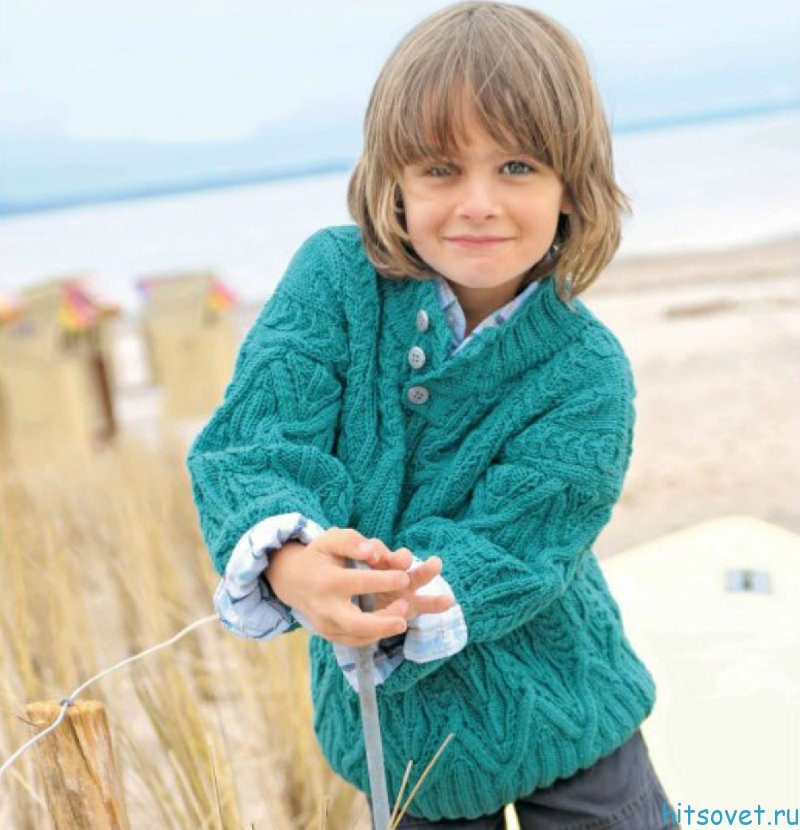 Вязание спицами свитер для мальчика 7-8 лет 55