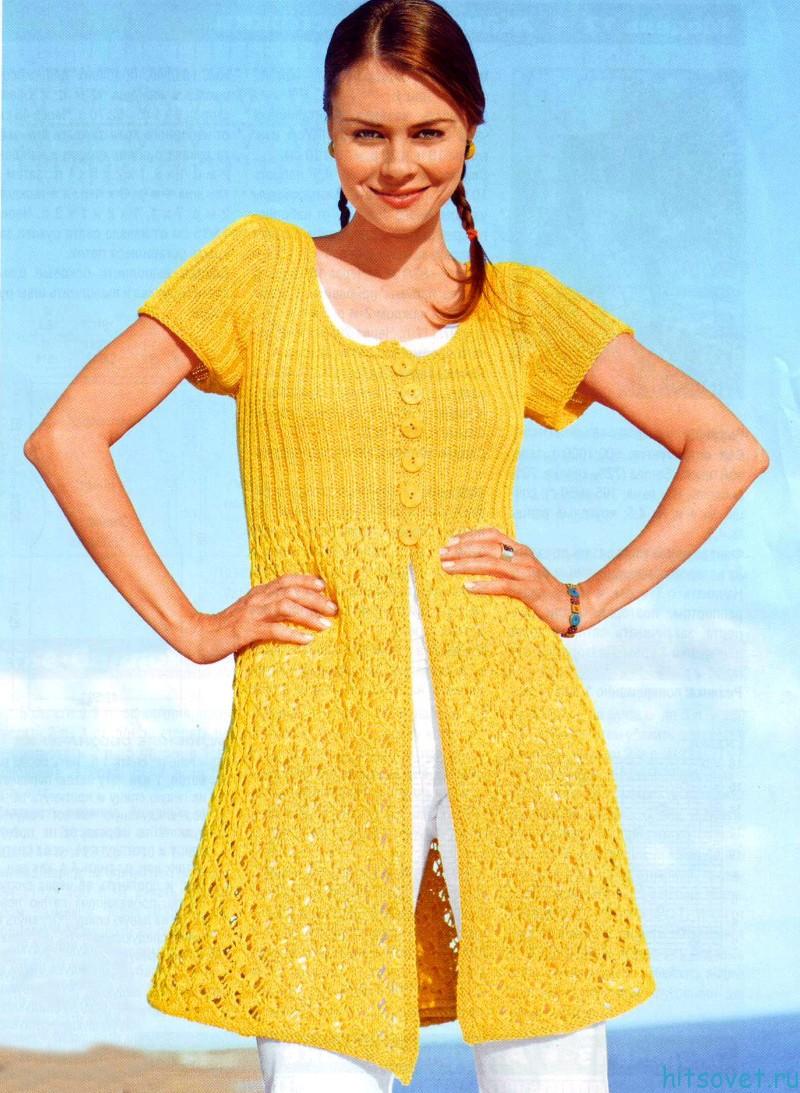 Желтый жакет спицами