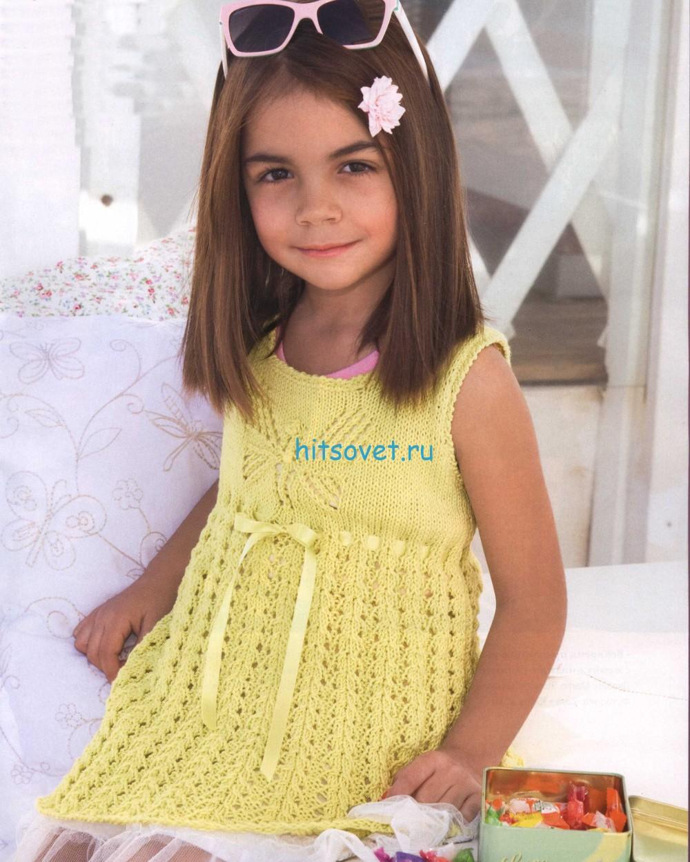 Вязаное платье для девочки схема и описание