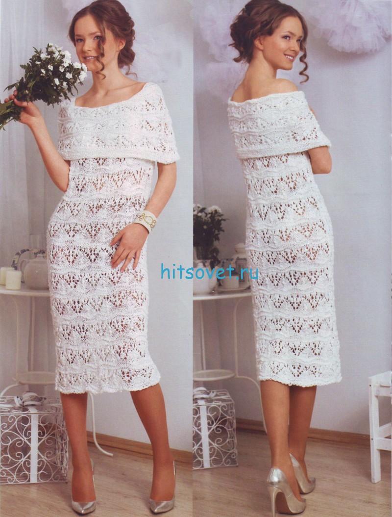 Красивое белое платье спицами, фото.