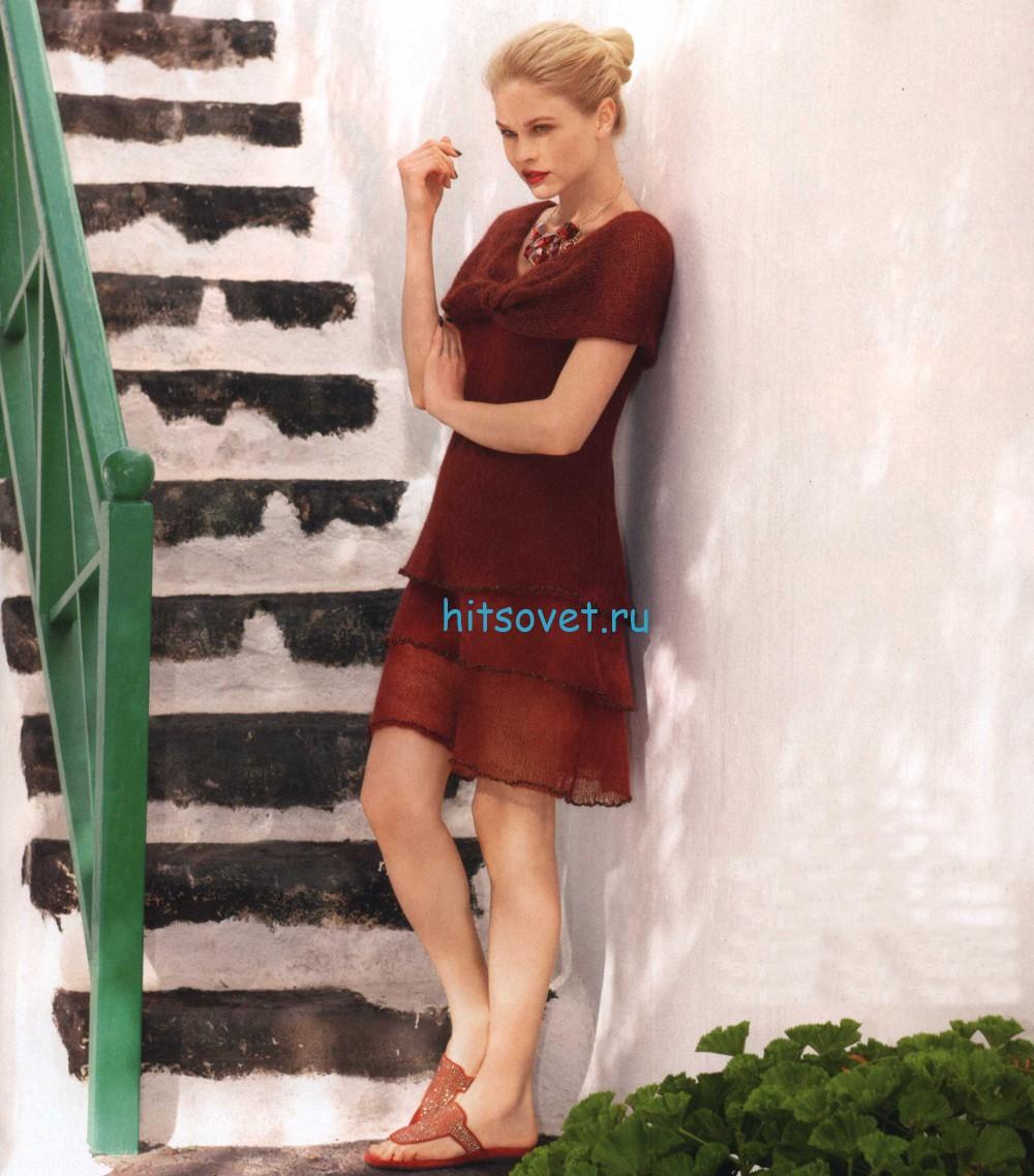 Платье спицами каштанового цвета