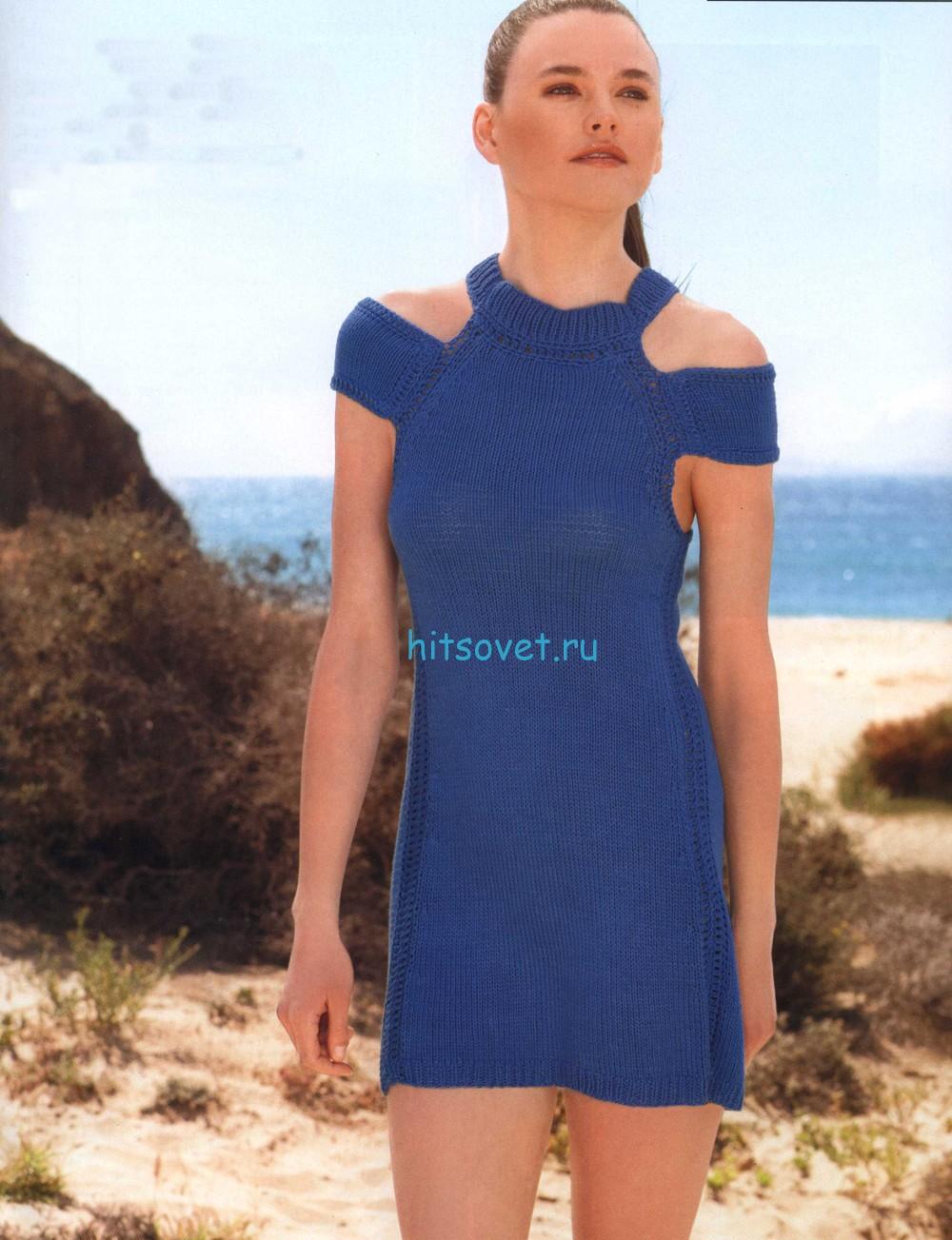 Короткое платье спицами