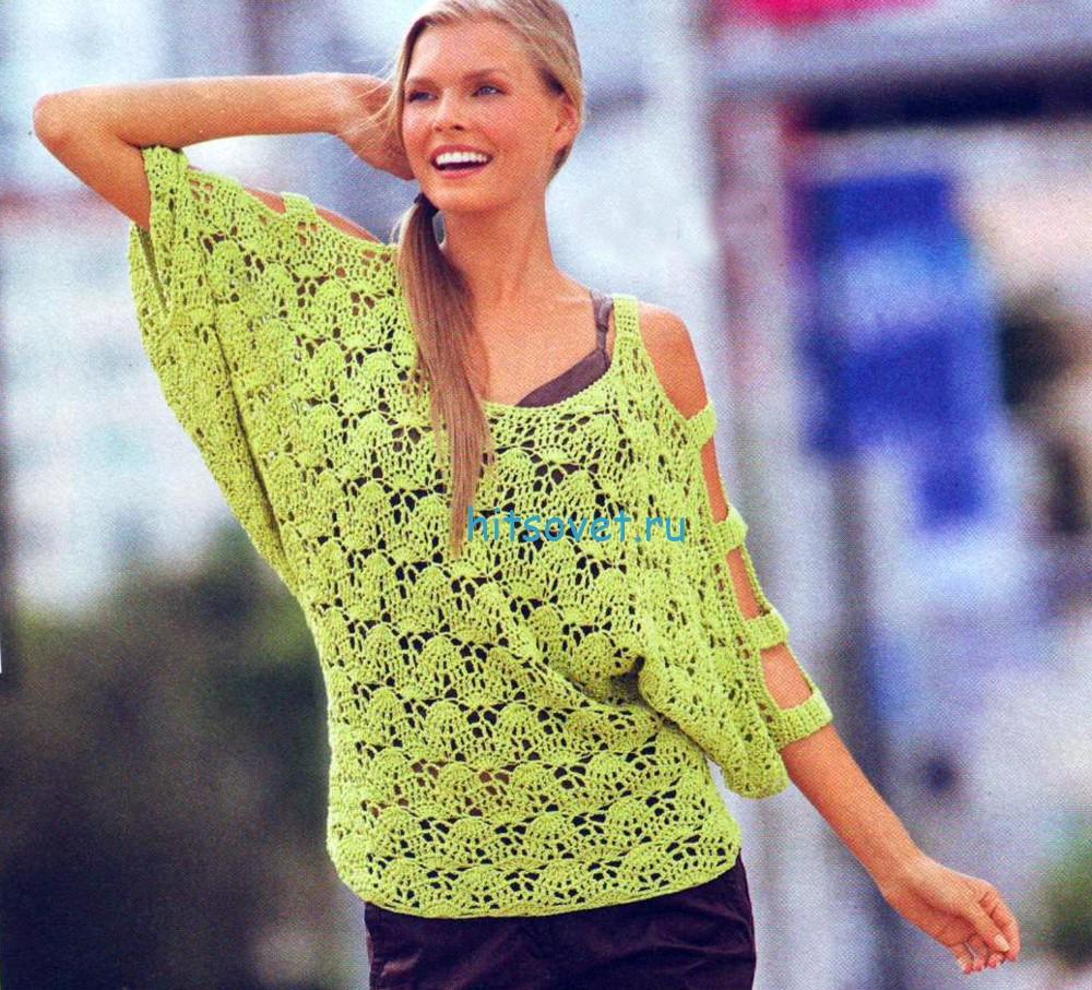 Вязаный пуловер с рукавами летучая мышь