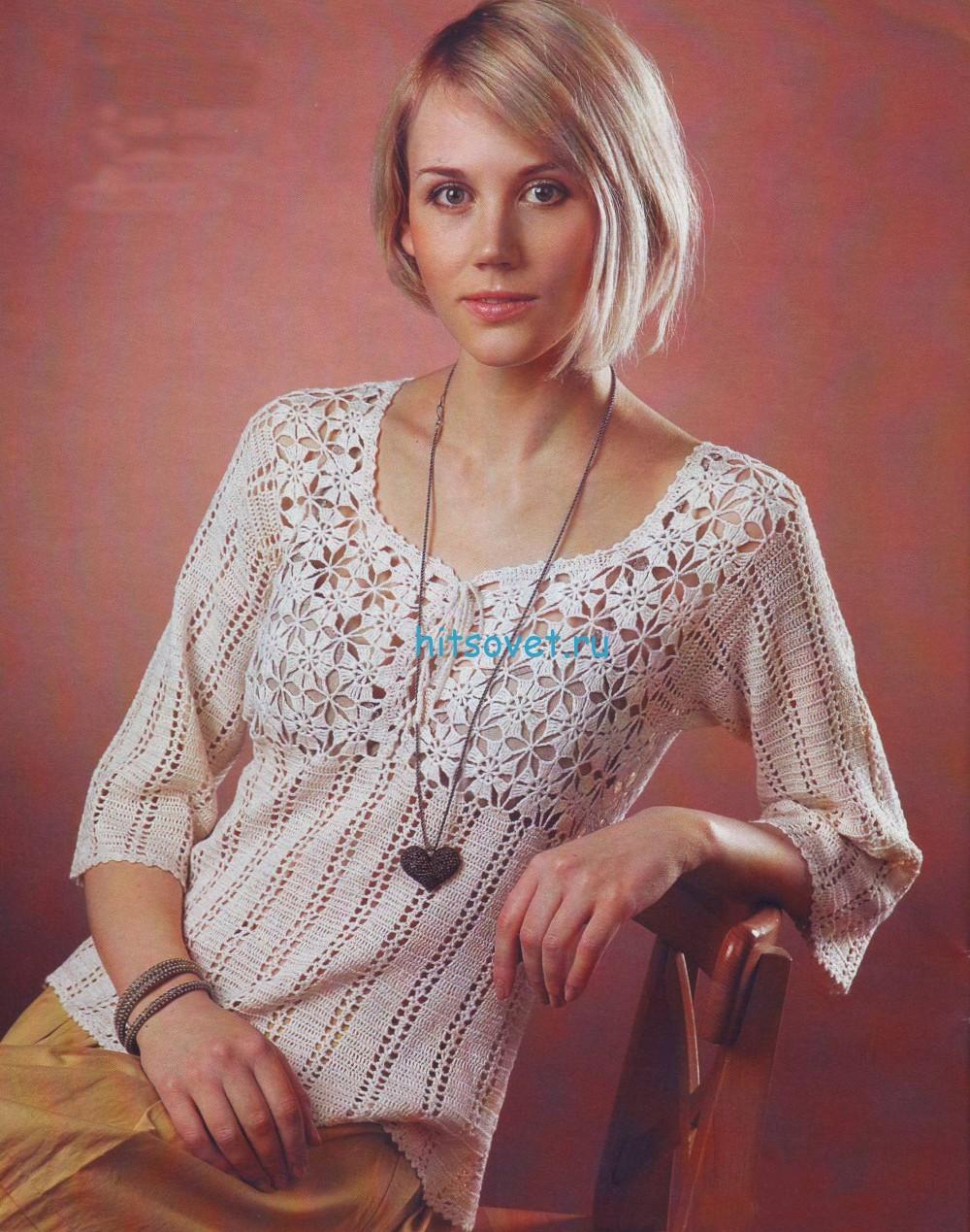 Женский пуловер крючком со схемой