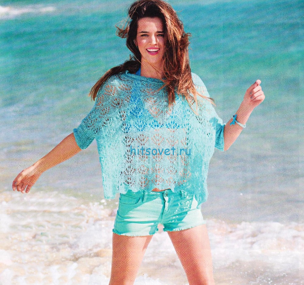 Свободный летний пуловер спицами схема