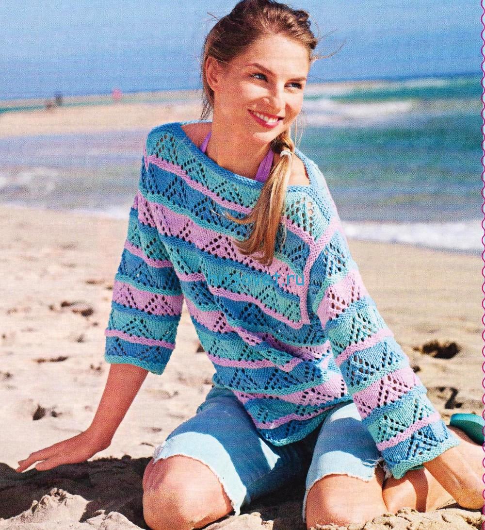 Трёхцветный летний пуловер спицами