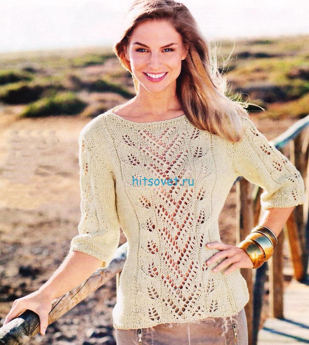 Вязаный пуловер с ажурной полосой