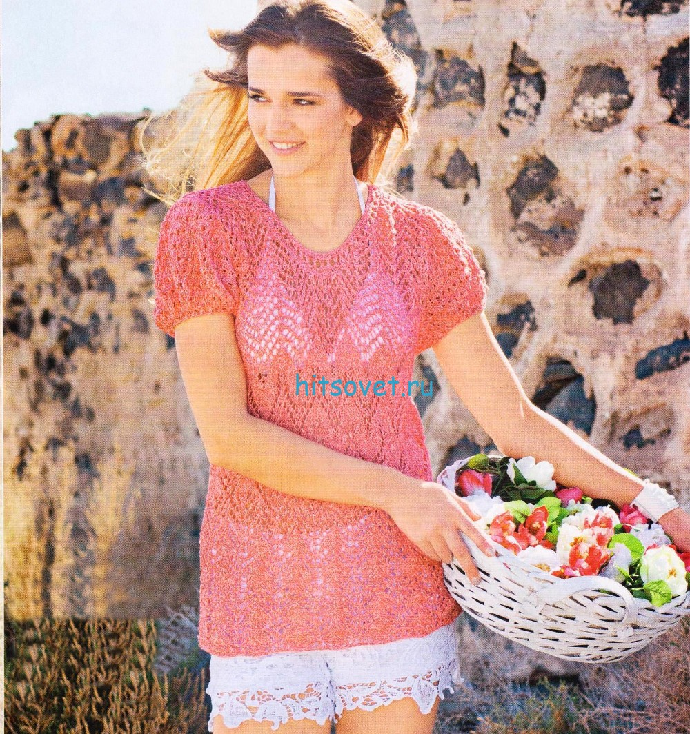 Коралловый вязаный пуловер