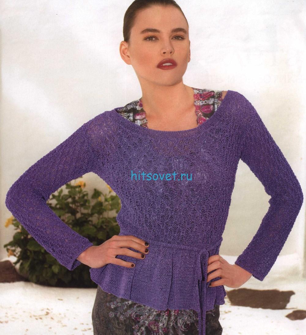 Вязаный пуловер с воланами