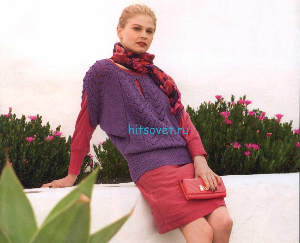 Вязаный пуловер с коротким регланом