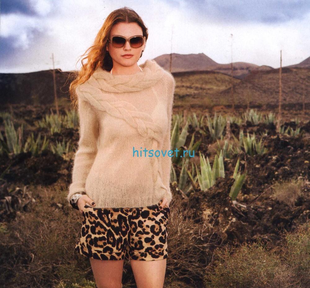 Женский пуловер из мохера с косами