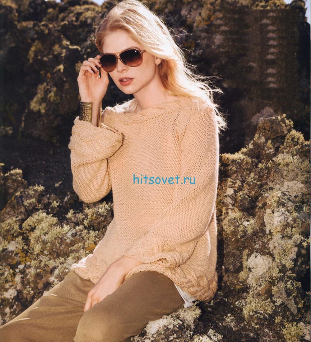 Свободный пуловер с косами схема