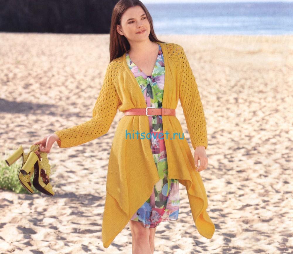 Модный жакет спицами схема, фото 1.