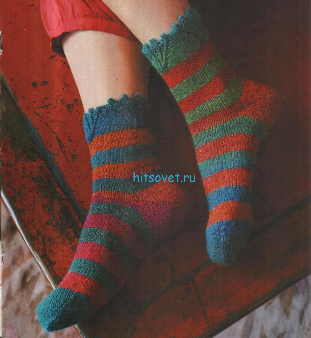 Вязаные носки в полоску
