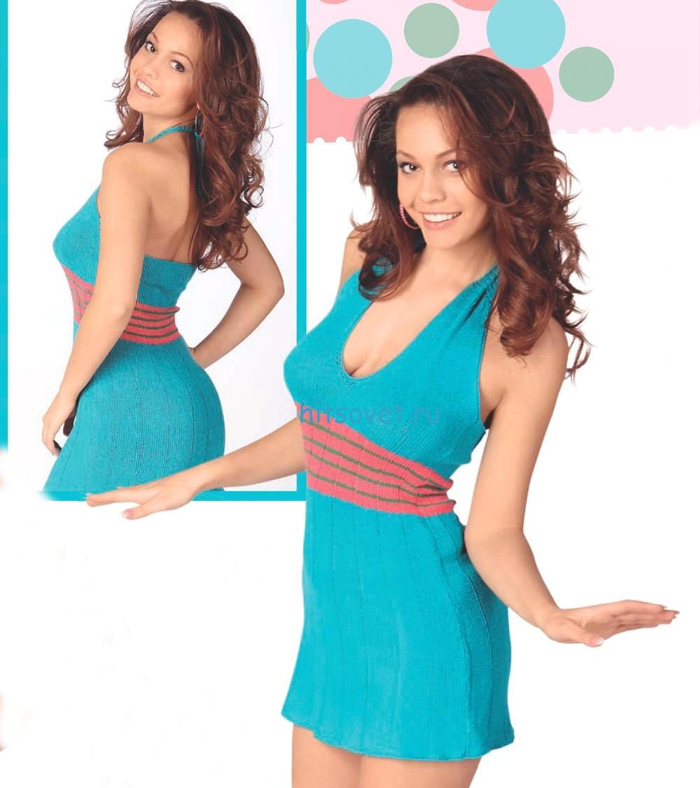 Вязаное мини платье описание