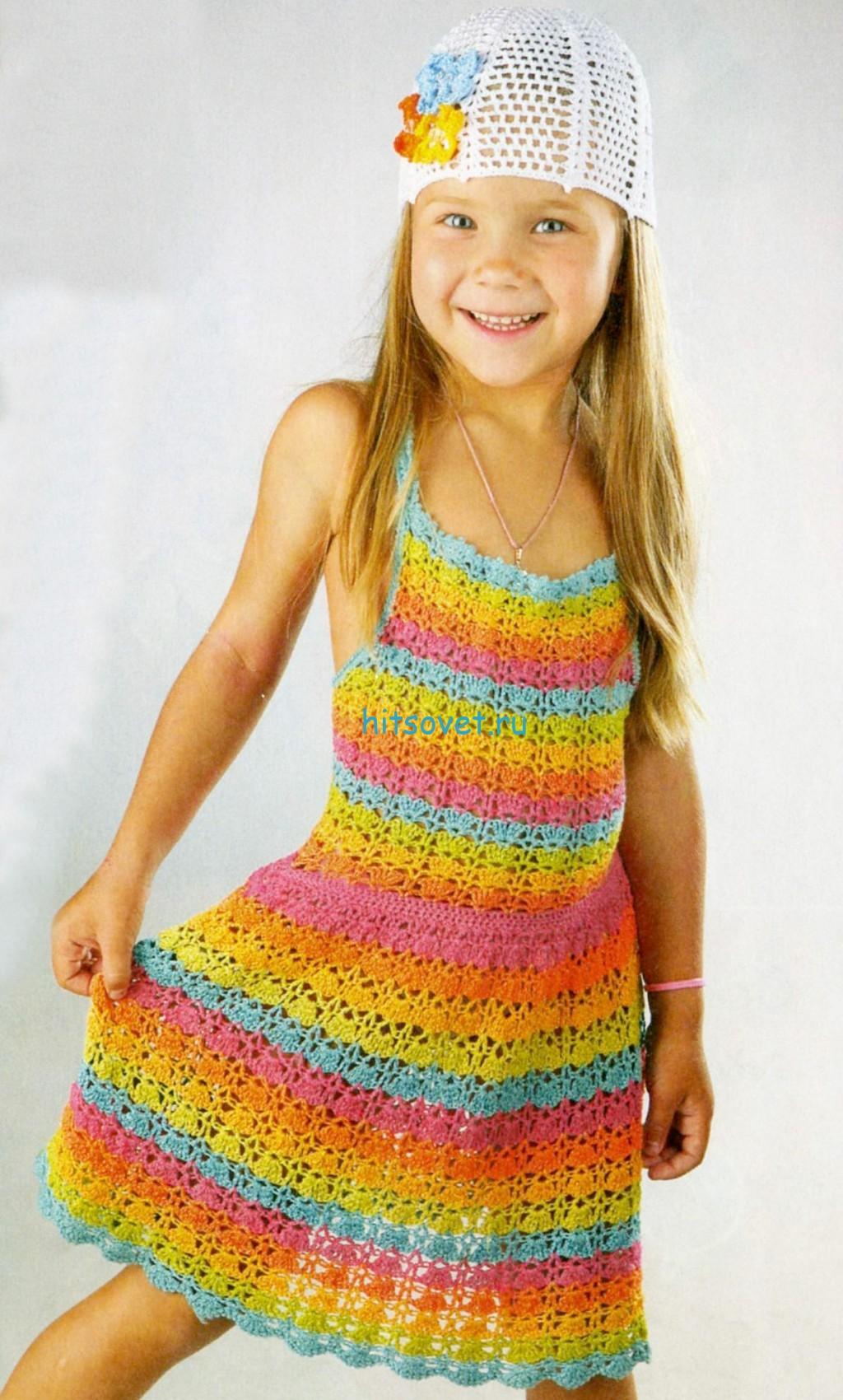 Платье крючком для девочки 5-6 лет