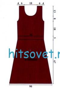 Бордовое платье крючком, выкройка.