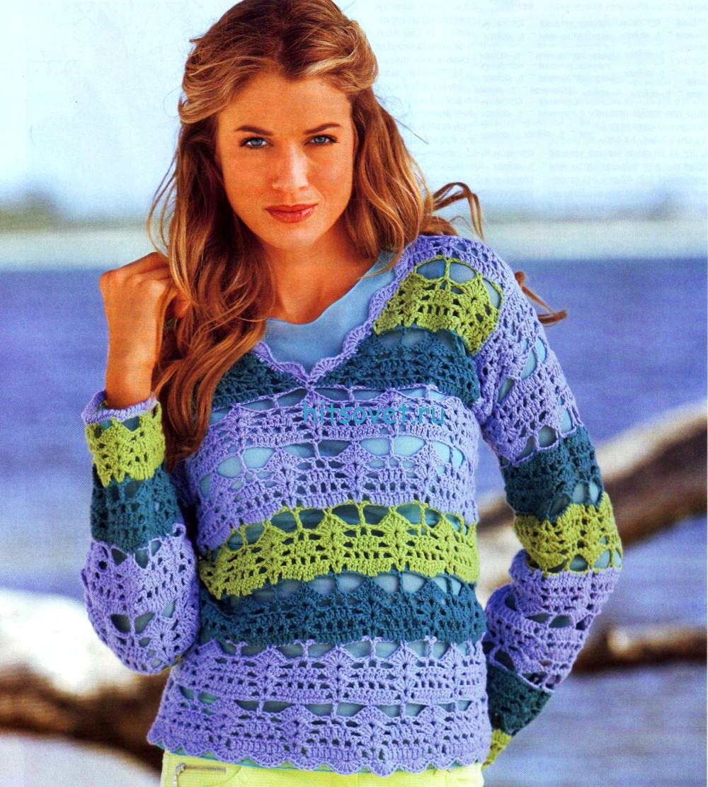 Полосатый пуловер крючком схема