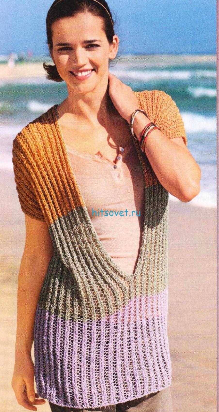 Удлиненный пуловер с V-образным вырезом