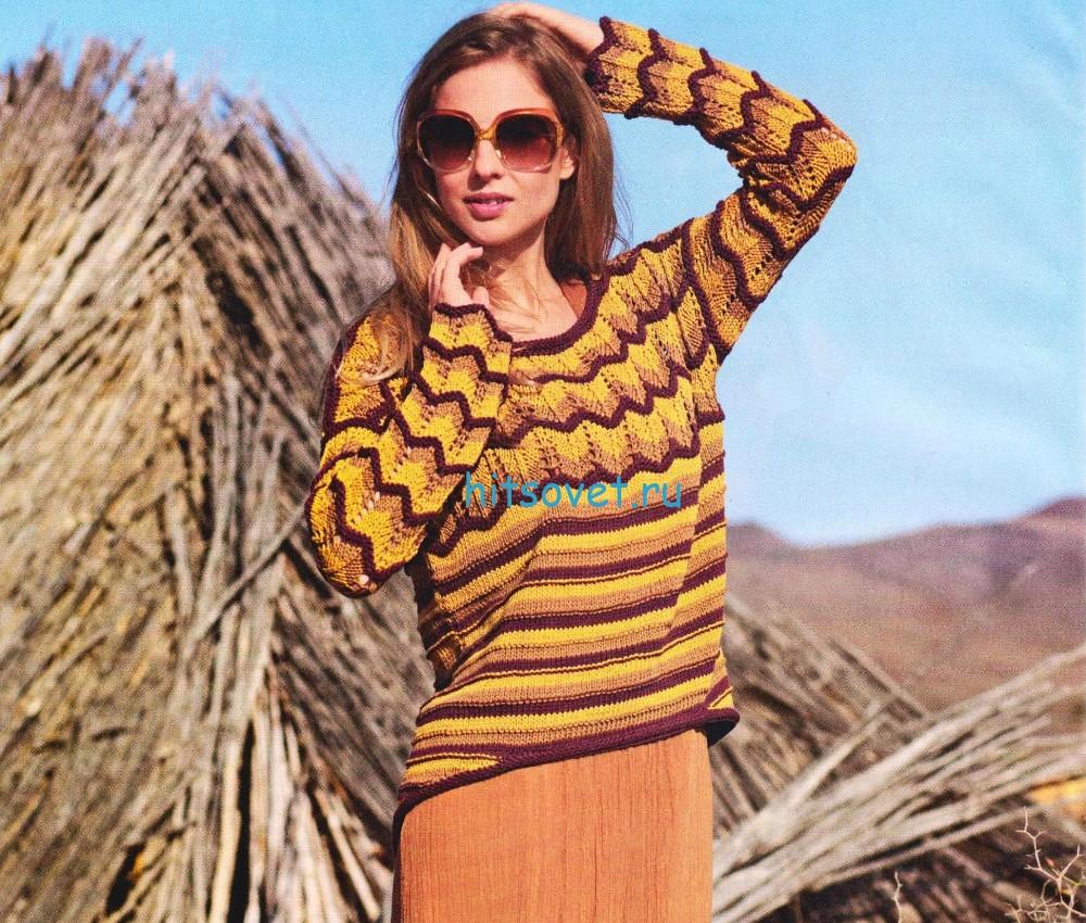 Вязание пуловера с полосами и зигзагами