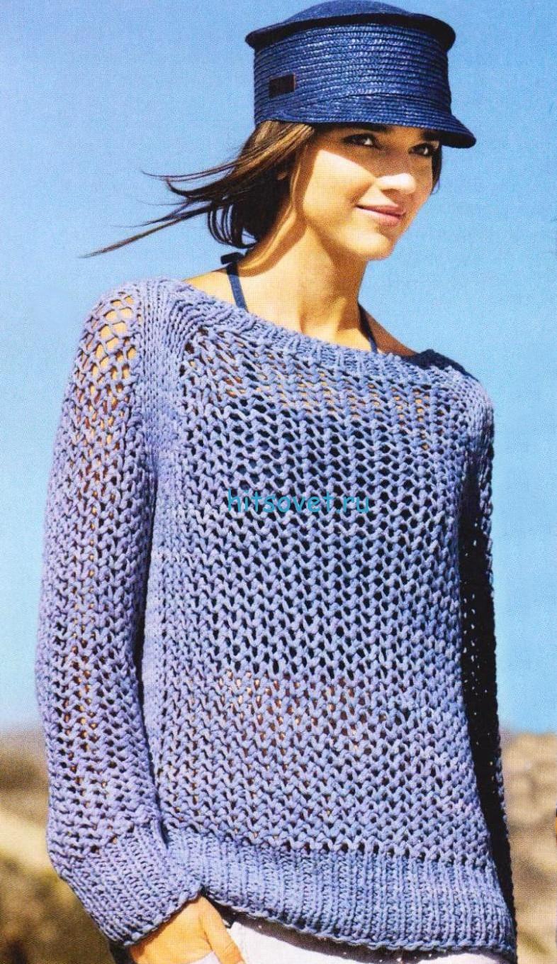 Голубой сетчатый пуловер реглан