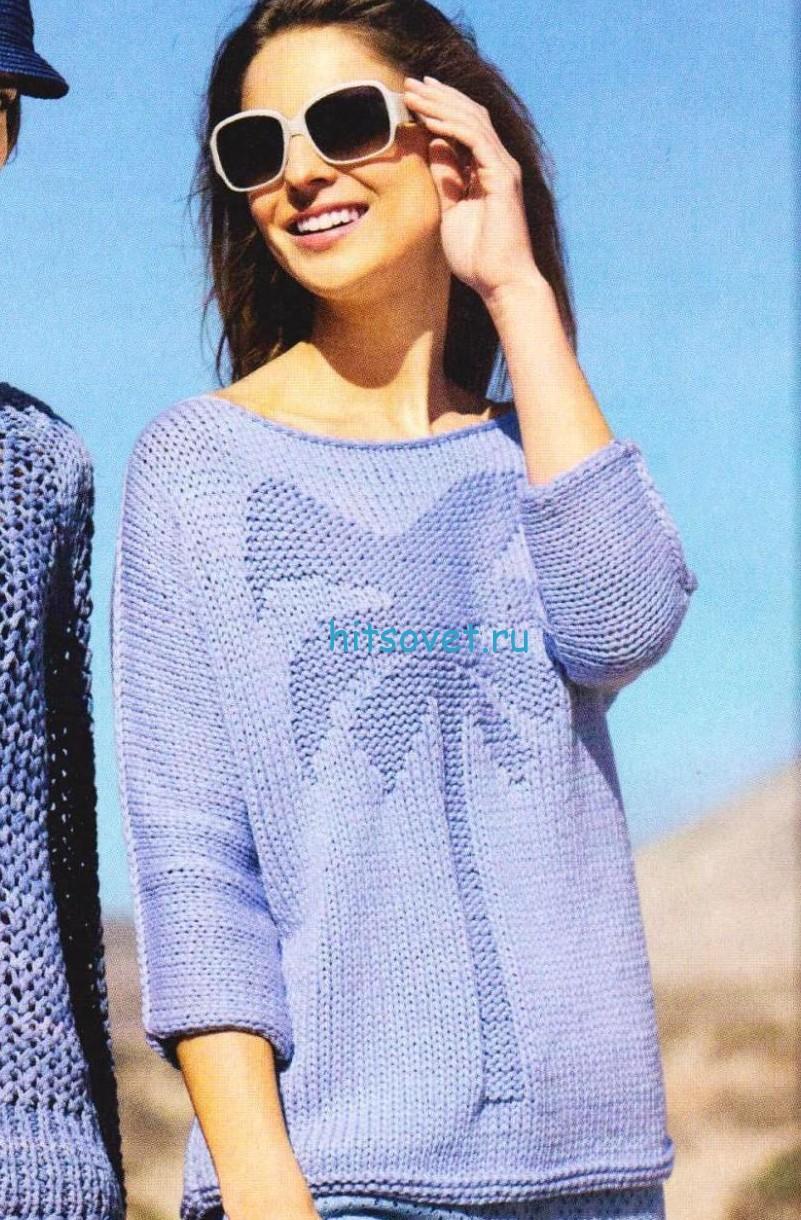 Вязание пуловера с пальмой