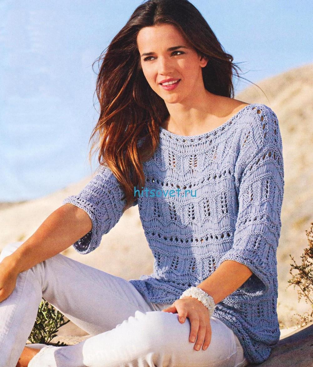 Летний вязаный пуловер с дырочками