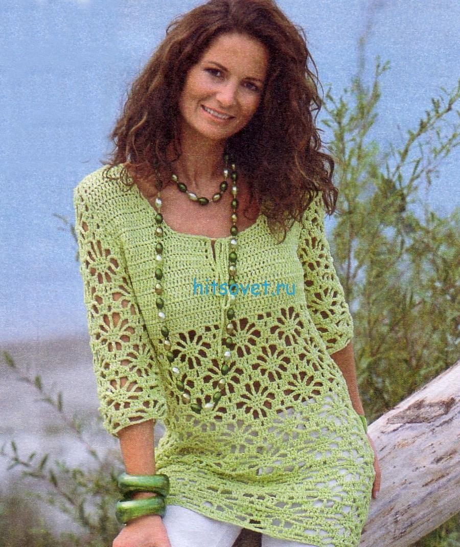Кружевной вязаный пуловер