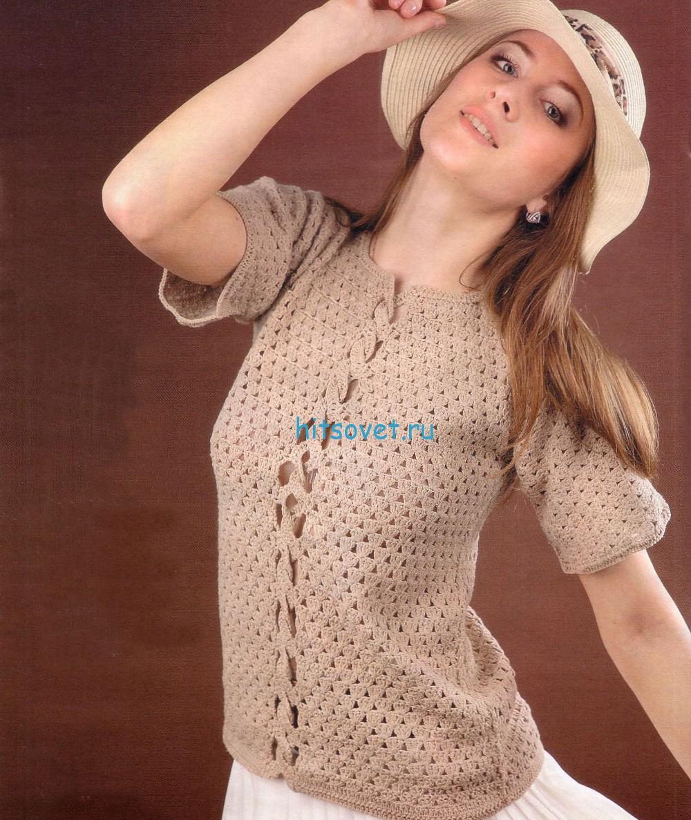 Пуловер крючком с короткими рукавами
