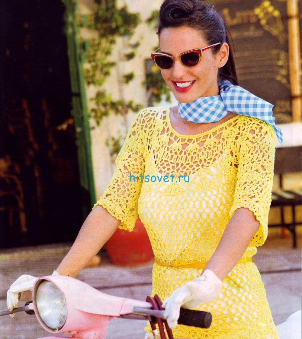 Желтый пуловер крючком