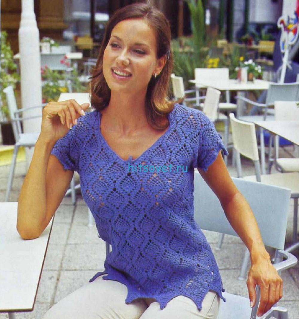 Вязаный пуловер с узором ананас