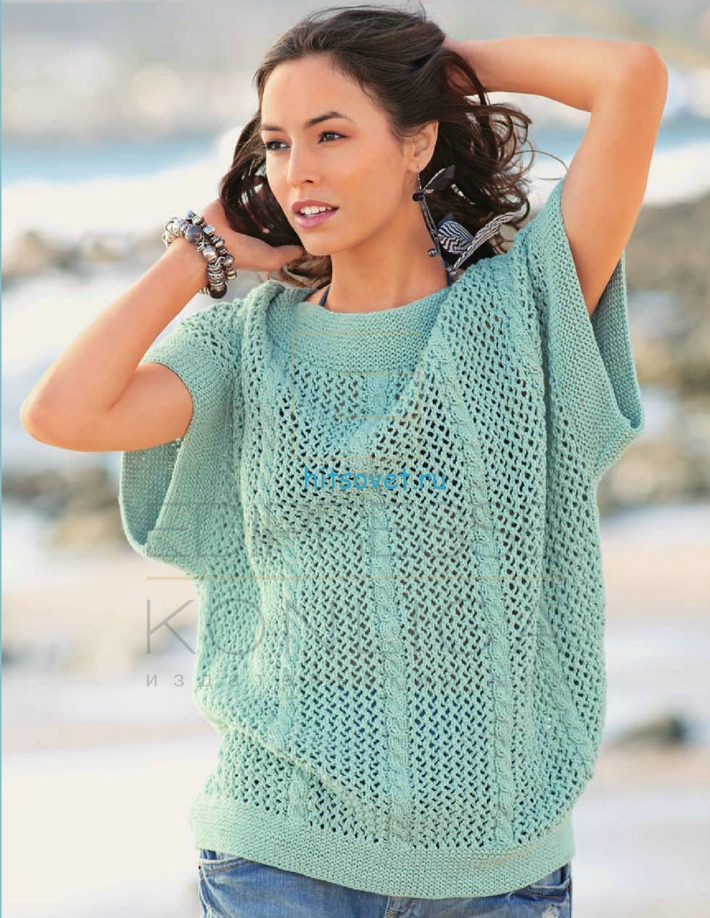 Вязание пуловера с полосами