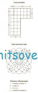 Вязание пуловера из мотивов, схема.