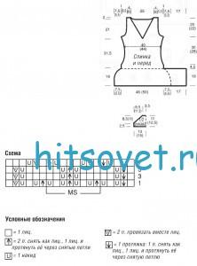 Вязание асимметричной туники, схемы.