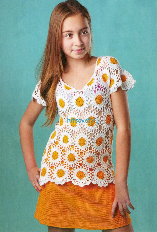 Кофточка для девочки крючком и вязаная юбка
