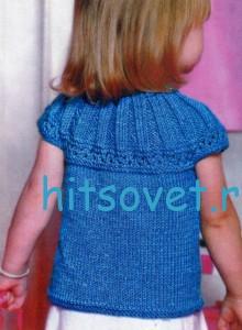 Вязание для девочек синей кофточки, фото 2.