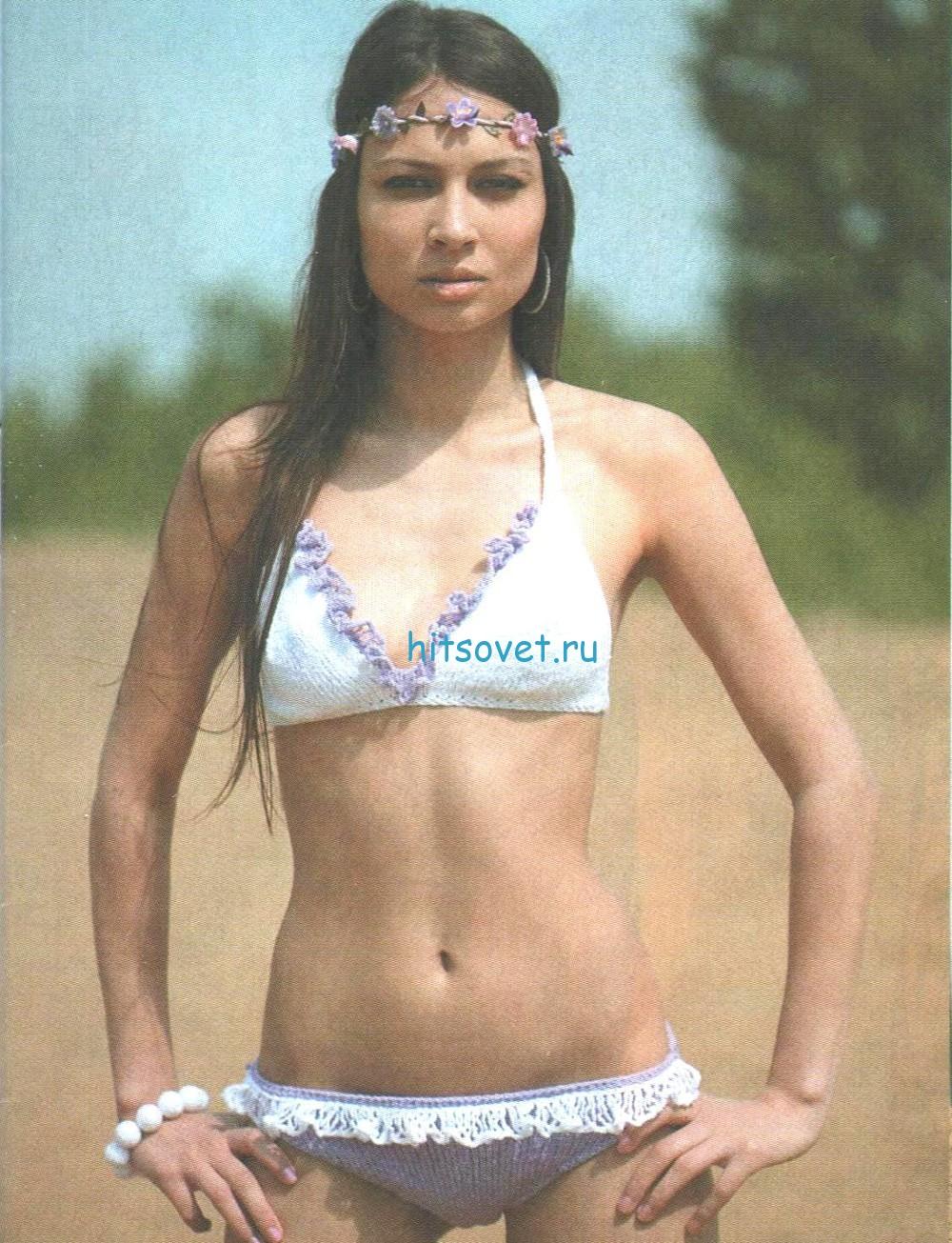 Модный вязаный купальник, фото 2.