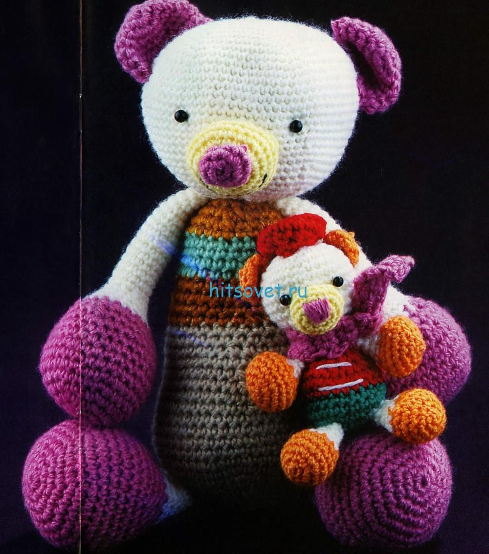 Вязаные мишки папа с сыночком