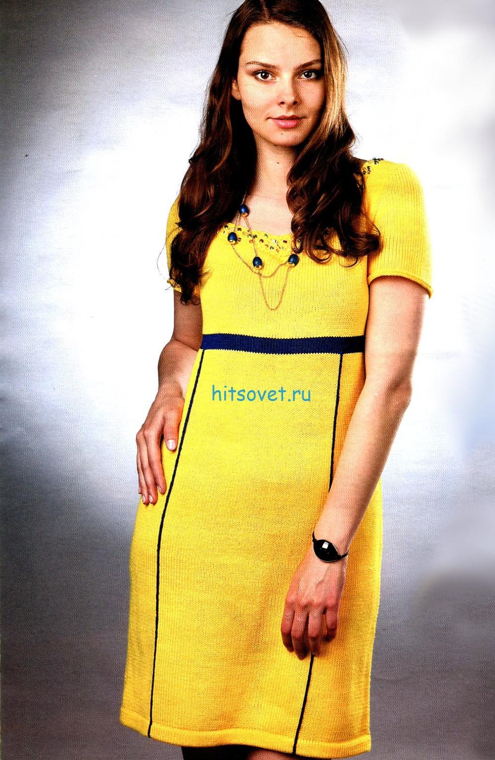 Вязание платья желтого цвета